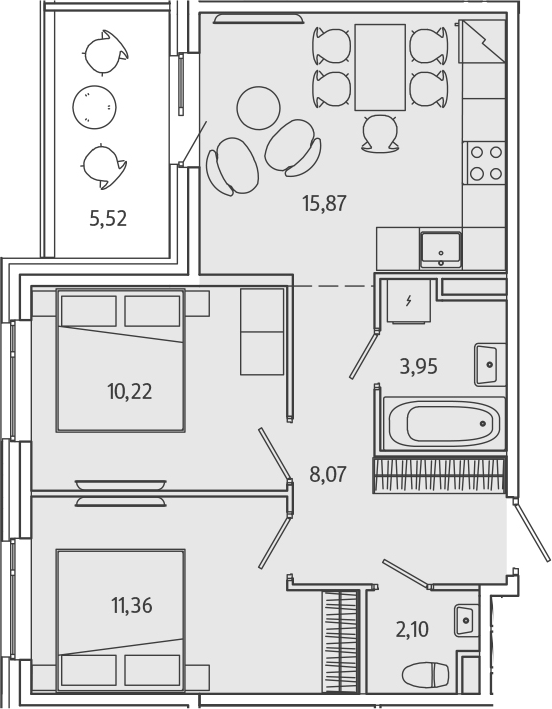 3Е-комнатная, 53.23 м²– 2