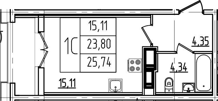 Студия, 25.74 м²