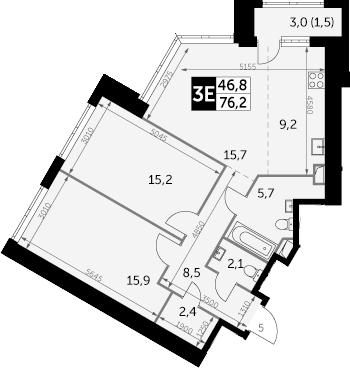 3-к.кв (евро), 77.7 м²