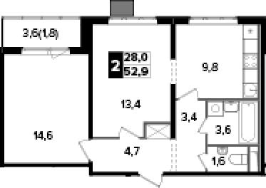 2-к.кв, 52.9 м², от 12 этажа
