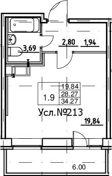 Студия, 28.27 м², 2 этаж