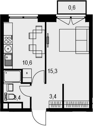 1-к.кв, 33.3 м², 14 этаж