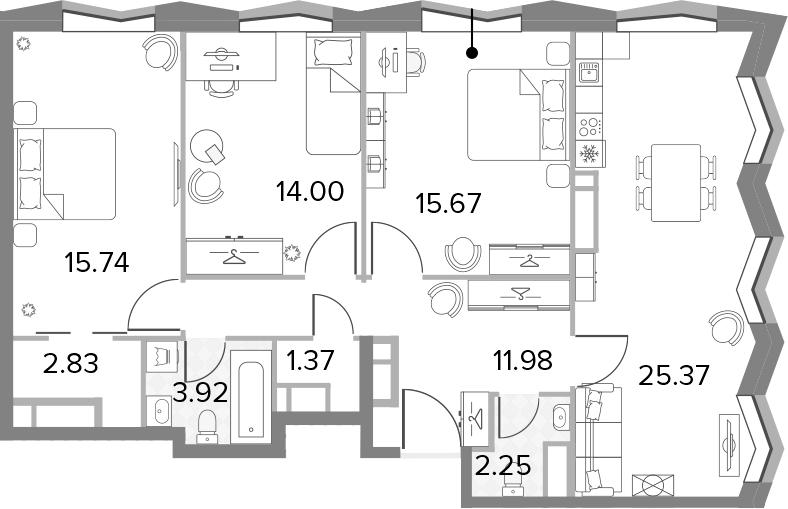 4Е-комнатная, 93.13 м²– 2