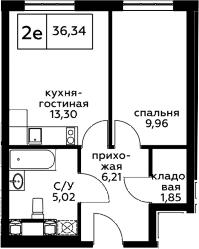 2Е-к.кв, 36.34 м², 13 этаж