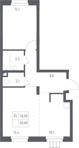 2Е-к.кв, 50 м²