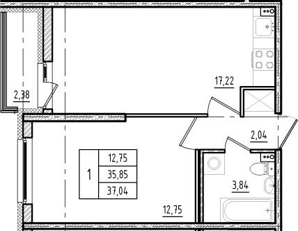 2Е-к.кв, 35.85 м², 1 этаж