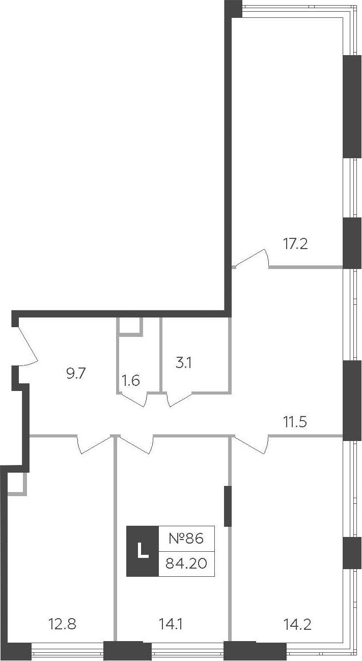 3-к.кв, 84.2 м²