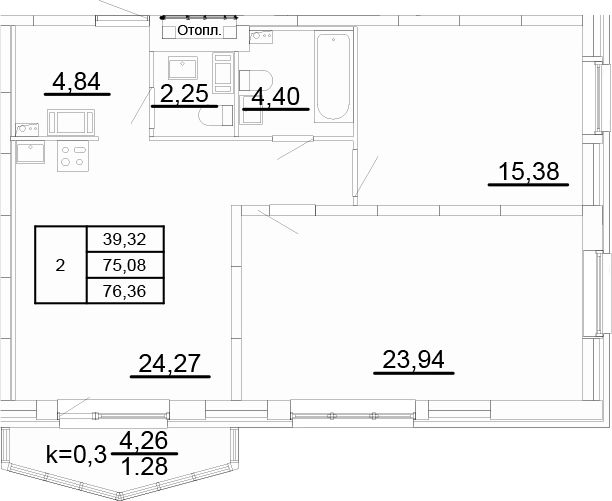 3Е-к.кв, 76.36 м², от 4 этажа