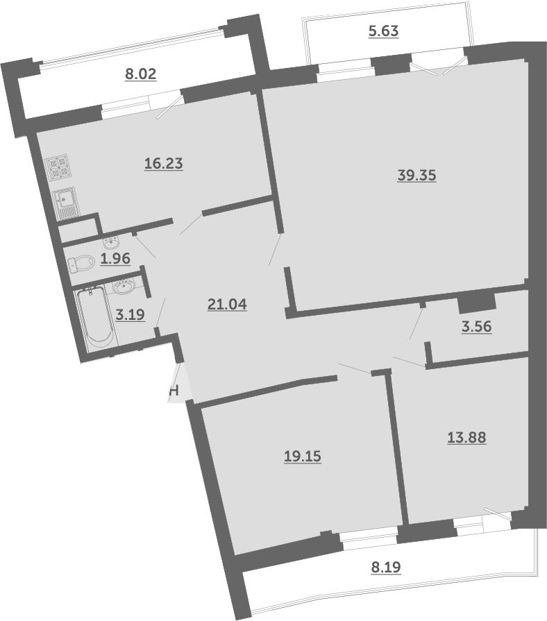 4Е-комнатная, 124.9 м²– 2