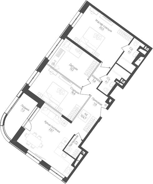 4Е-к.кв, 104.7 м²