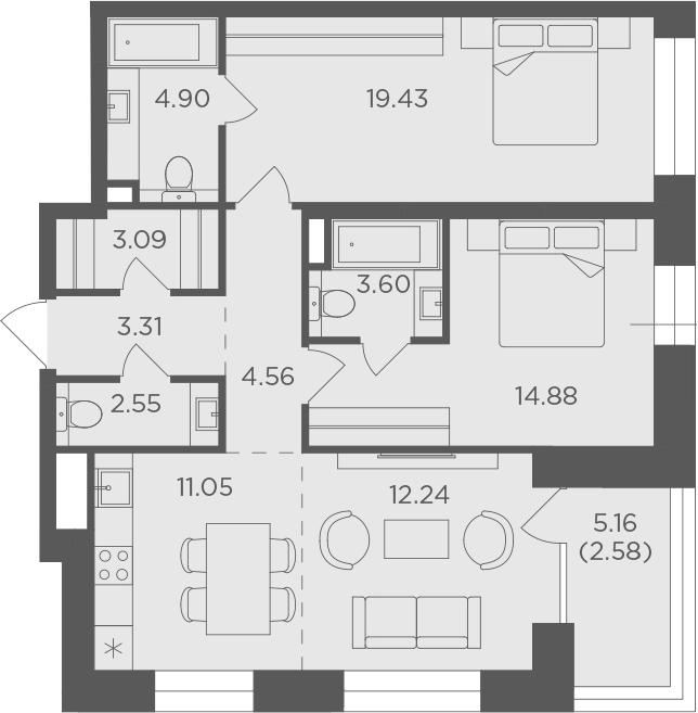 3Е-к.кв, 82.19 м², 3 этаж