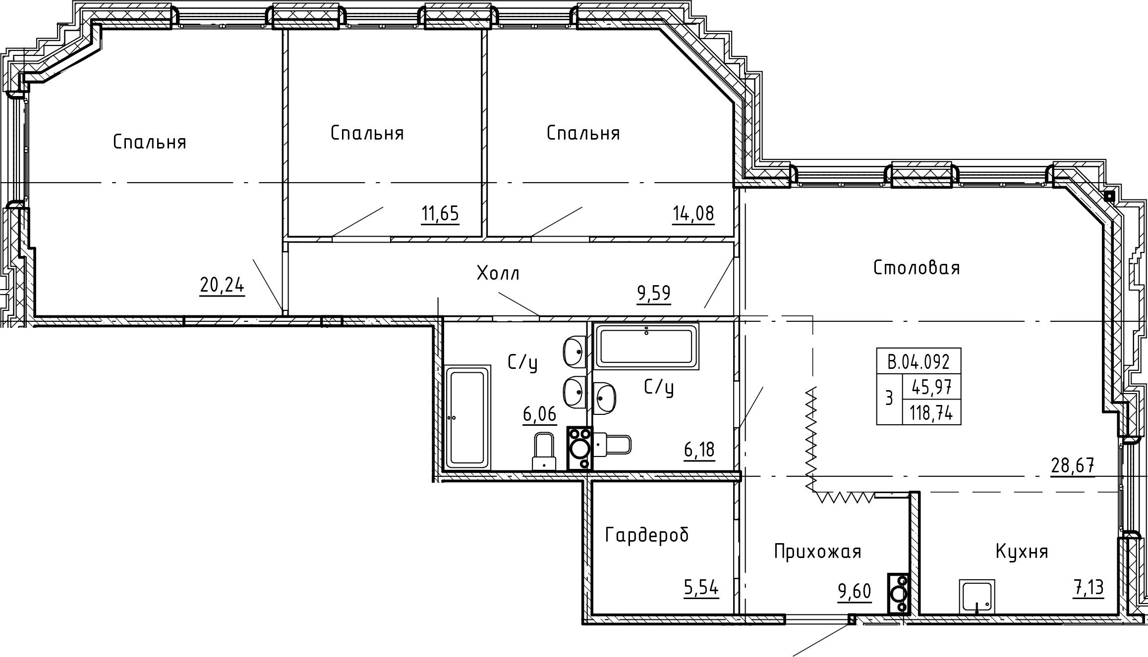 4Е-комнатная, 118.74 м²– 2