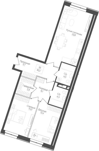 3Е-комнатная, 83.1 м²– 2
