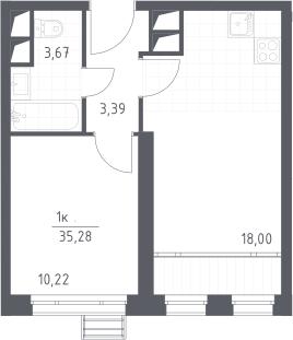 2Е-комнатная, 35.28 м²– 2