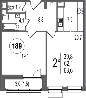 2Е-к.кв, 63.6 м²