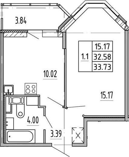 1-комнатная, 32.1 м²– 2