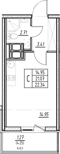 Студия, 21.07 м², 23 этаж