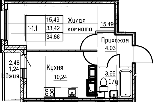 1-комнатная, 34.66 м²– 2