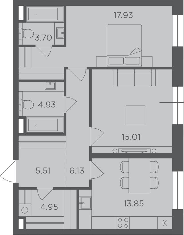 2-к.кв, 72.01 м², 6 этаж