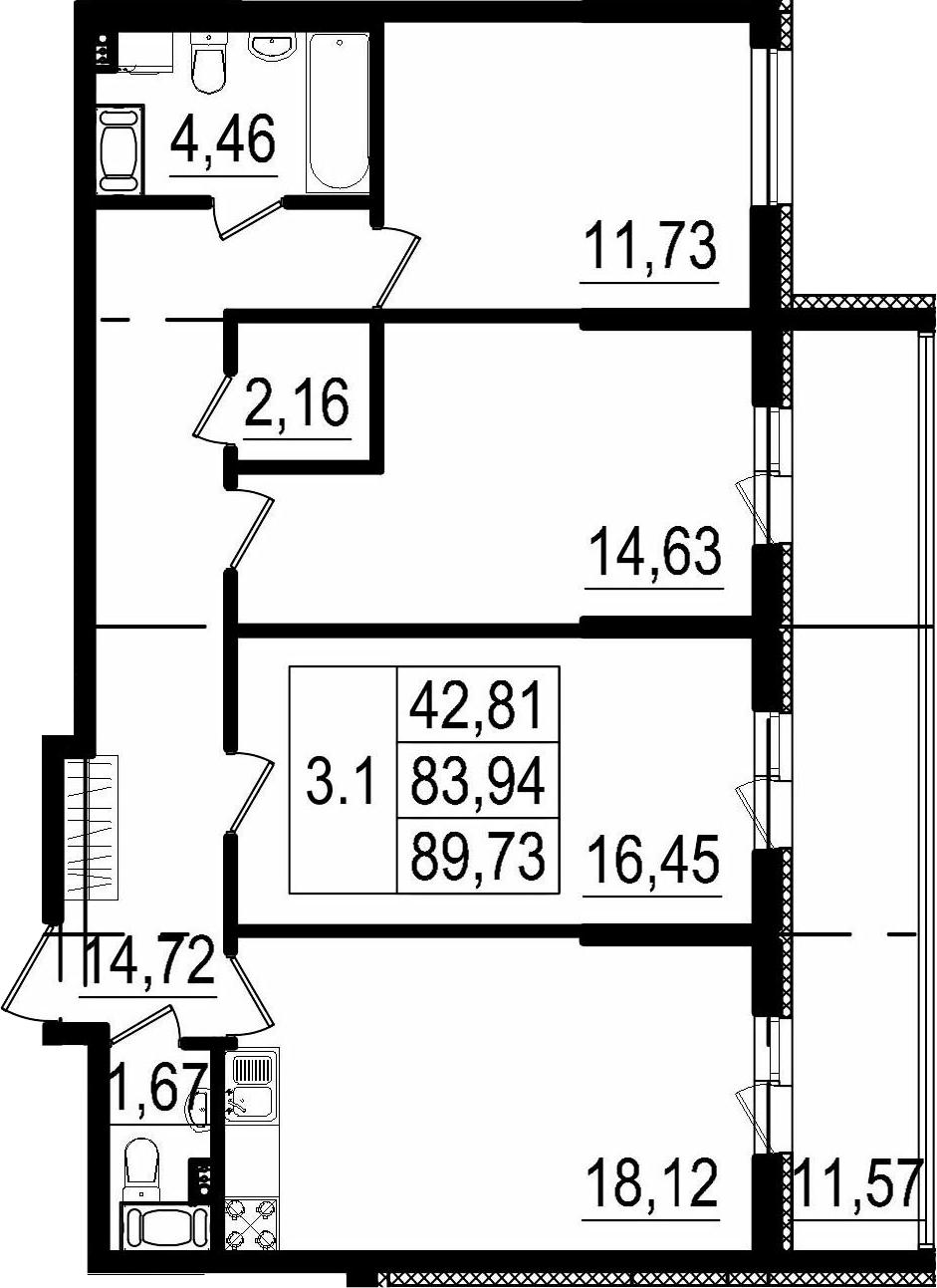 4Е-к.кв, 83.94 м²