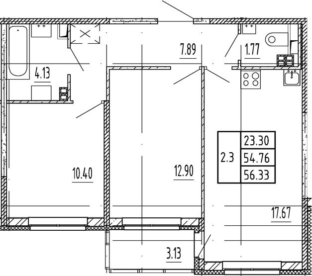 3Е-комнатная, 54.76 м²– 2