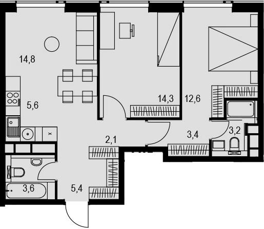 3Е-к.кв, 65 м², 32 этаж