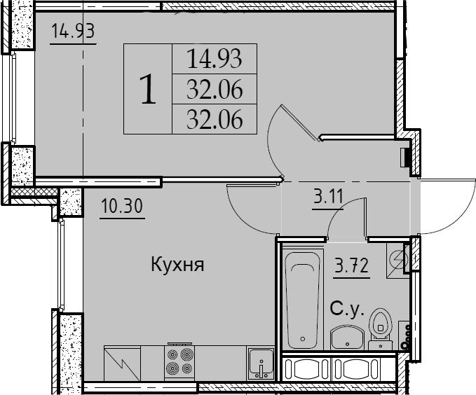 1-к.кв, 32.06 м², 2 этаж