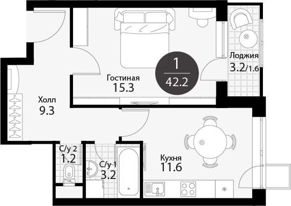 1-к.кв, 43.8 м²