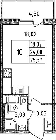 Студия, 24.08 м², 9 этаж