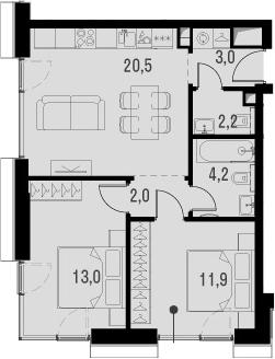 3Е-к.кв, 56.8 м², от 5 этажа