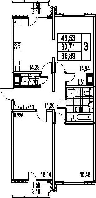 3-к.кв, 90.07 м²