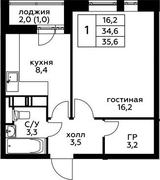 1-комнатная, 35.6 м²– 2