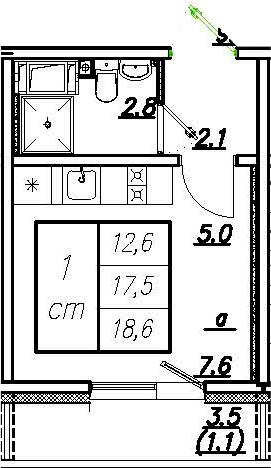 Студия, 21 м²