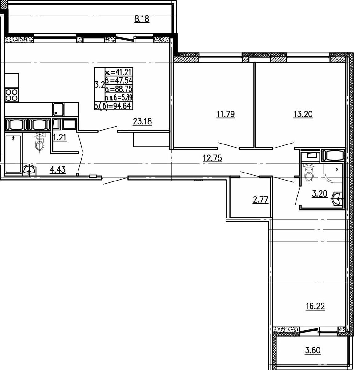 4Е-к.кв, 88.75 м²