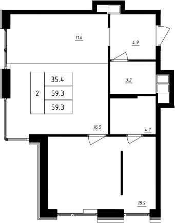 2Е-комнатная, 59.3 м²– 2