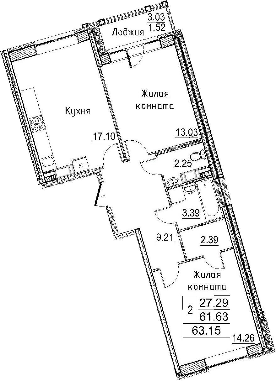 3Е-к.кв, 63.15 м²