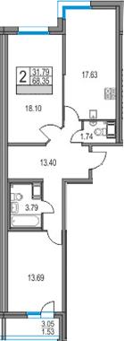 3Е-к.кв, 68.35 м², 22 этаж