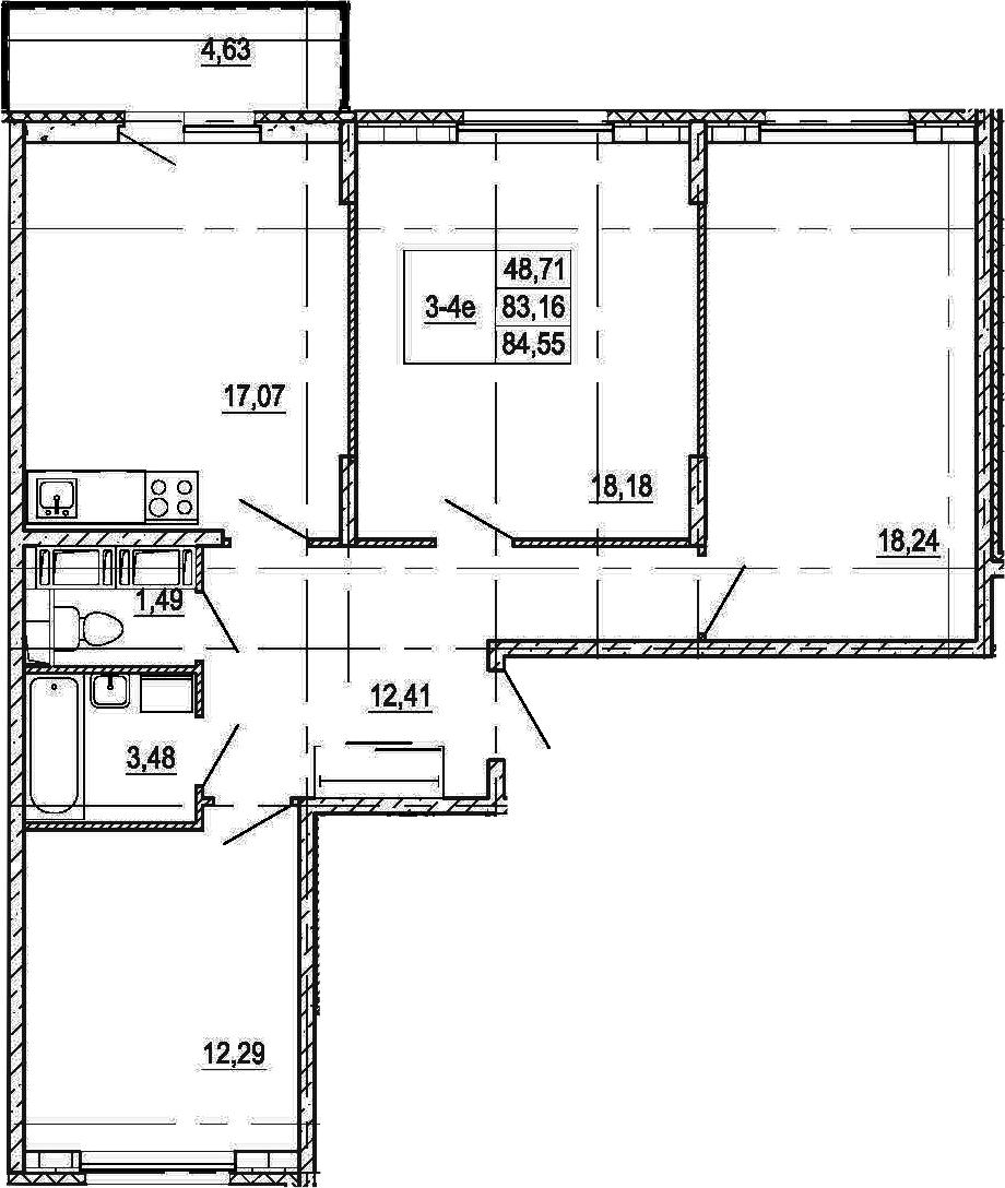 4-к.кв (евро), 87.33 м²