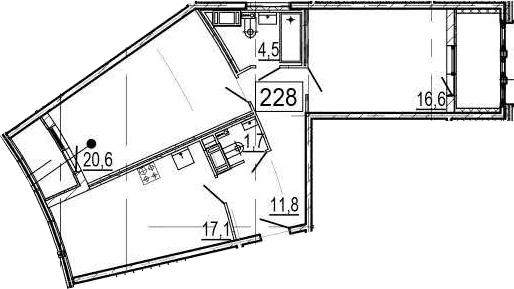 3Е-к.кв, 76.3 м², 11 этаж