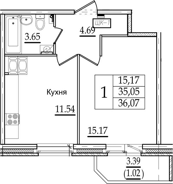 1-комнатная, 36.07 м²– 2