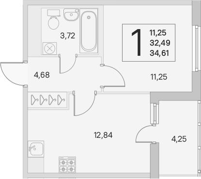 2Е-к.кв, 32.49 м², от 3 этажа