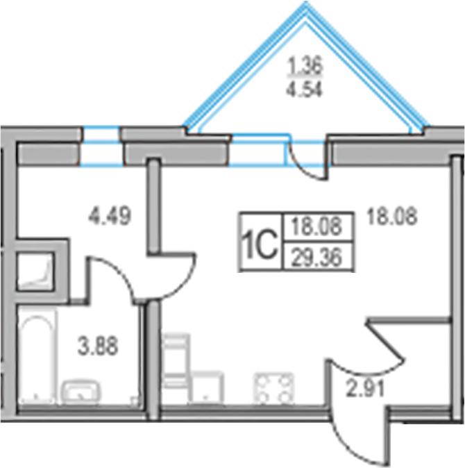 Студия, 29.36 м²