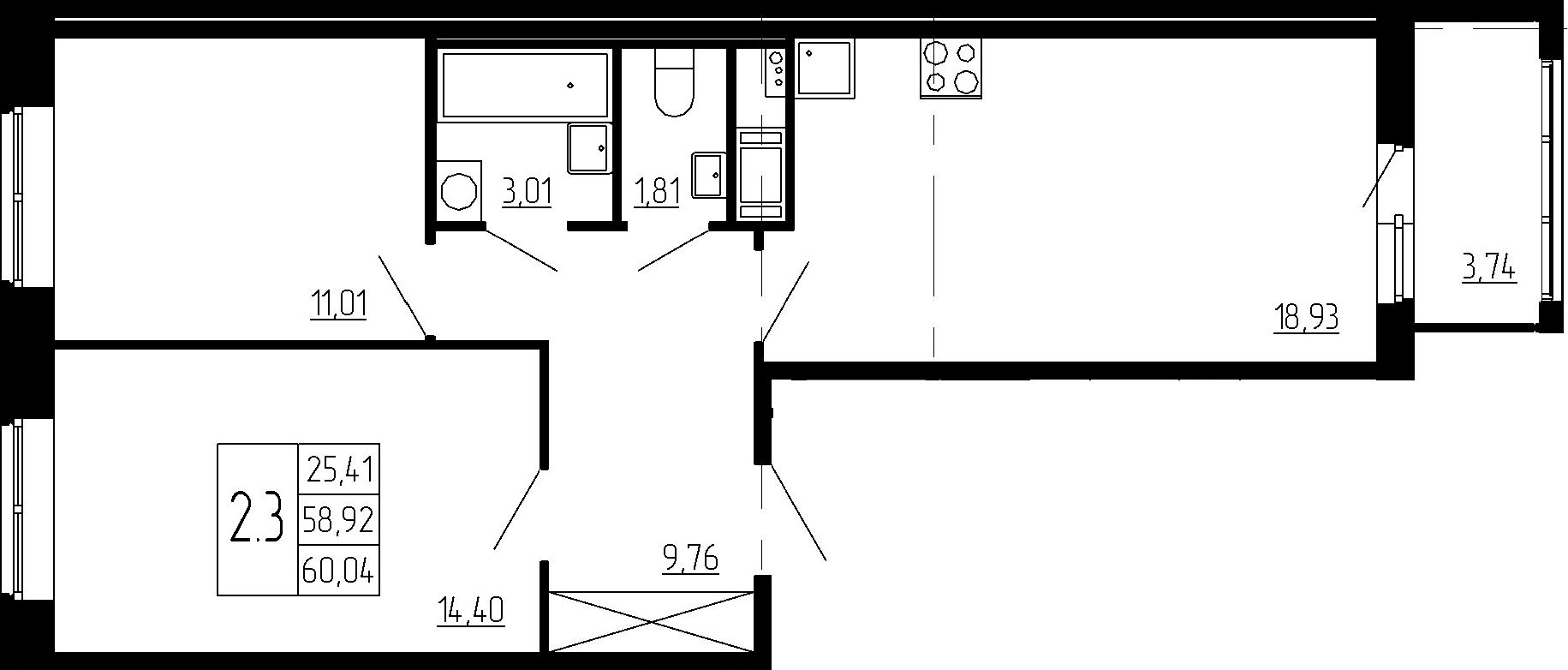 3Е-к.кв, 58.92 м²