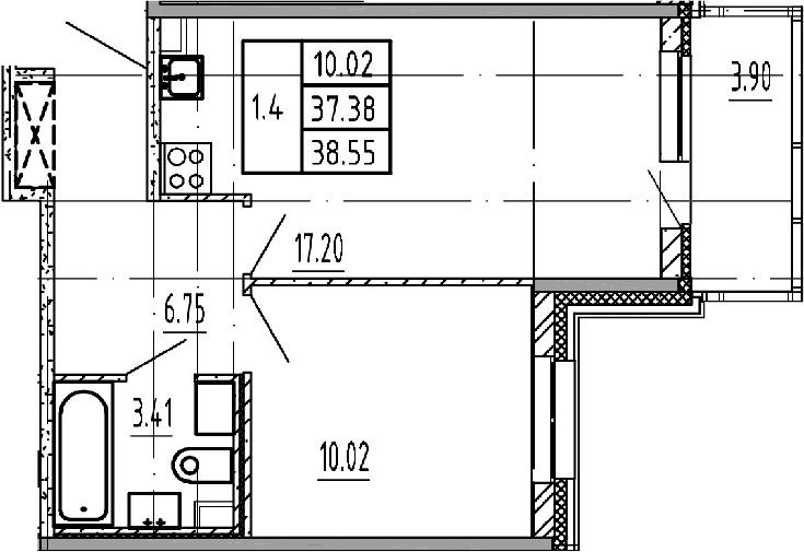 2Е-комнатная, 37.38 м²– 2
