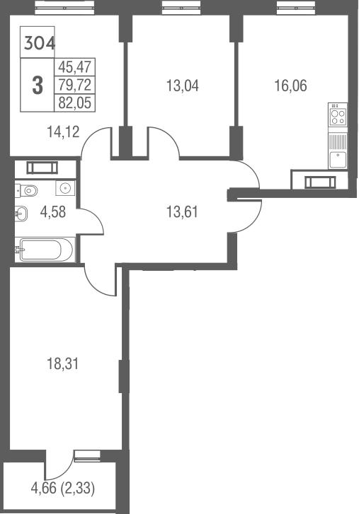 4-к.кв (евро), 84.38 м²