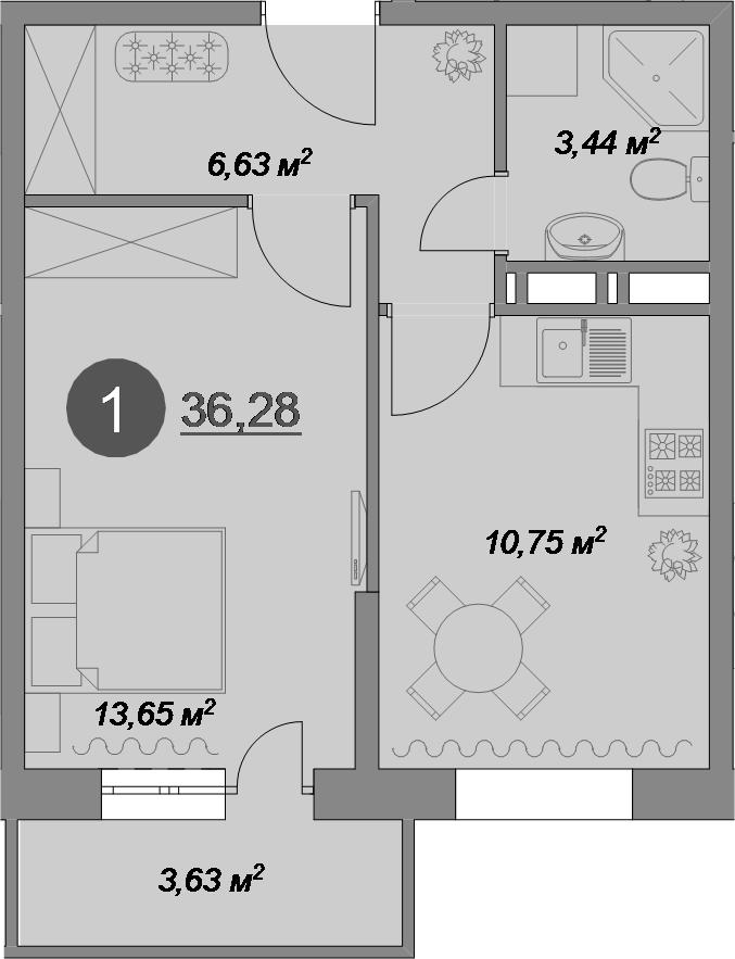 1-комнатная, 36.28 м²– 2