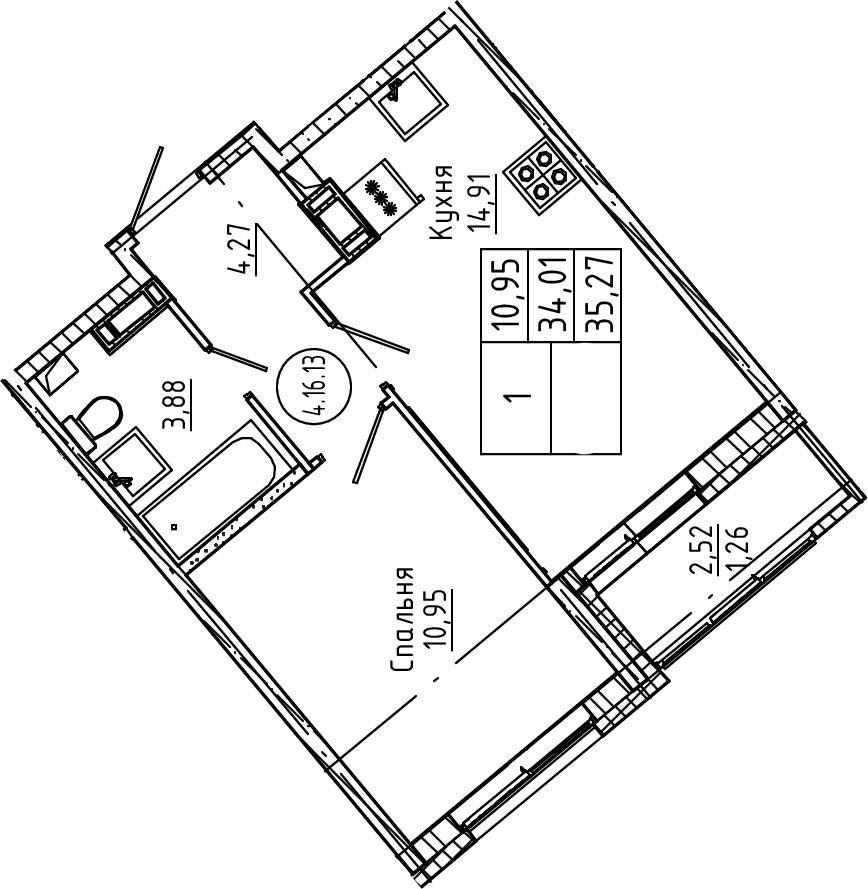 1-комнатная, 35.27 м²– 2