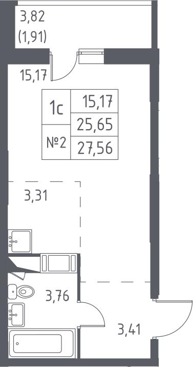 Студия, 27.56 м², 3 этаж