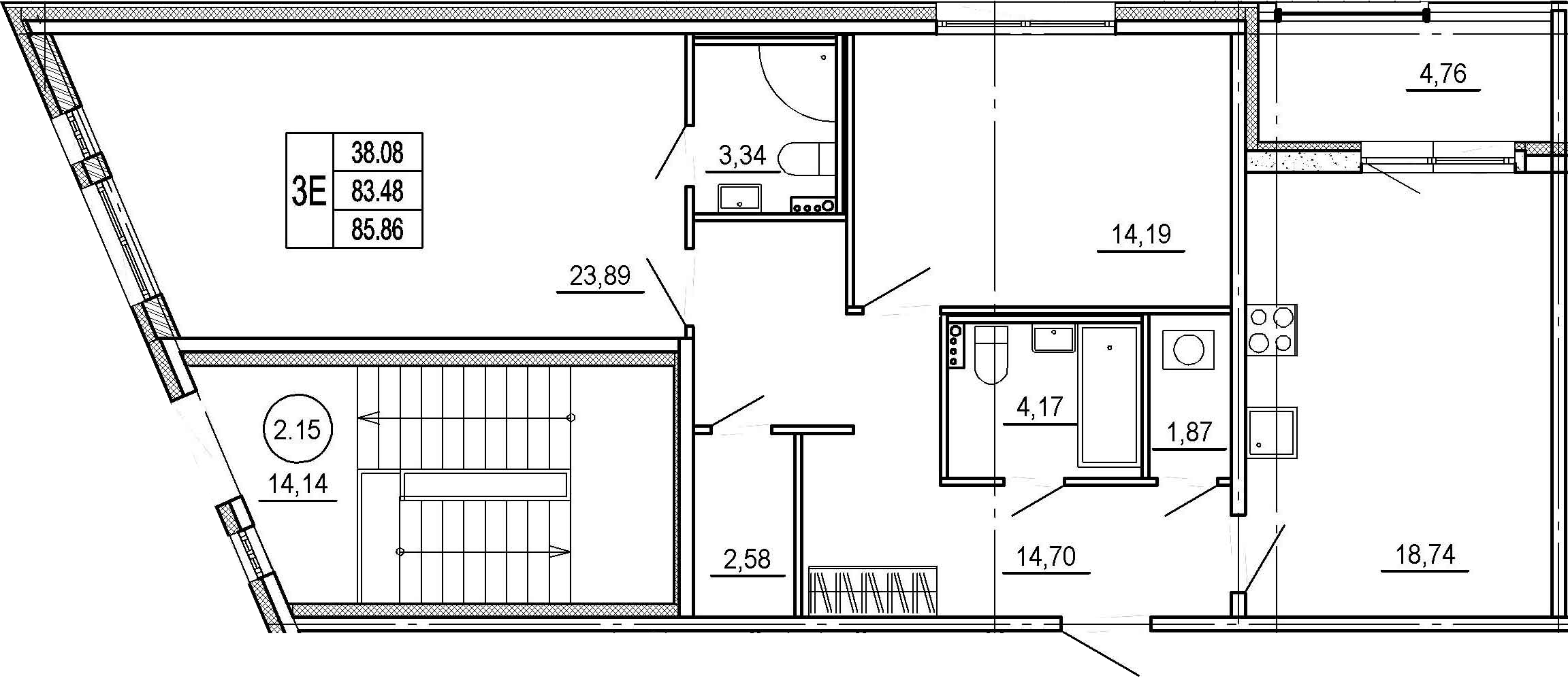 3-к.кв (евро), 88.24 м²