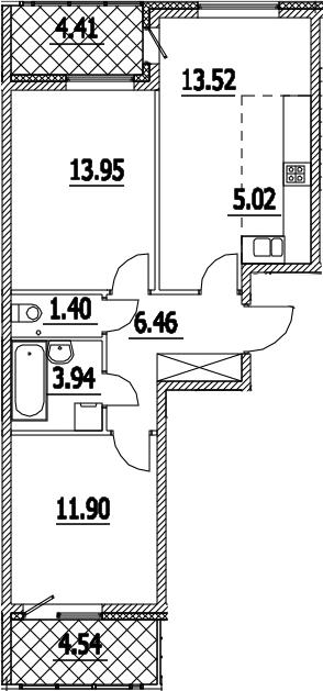 3Е-комнатная, 60.67 м²– 2